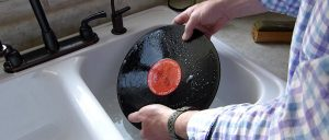 How to clean vinyl records with glue